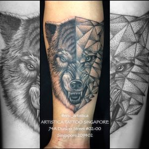 Wolf with half geometric style. Design for client as requested. Tattooed by our artist Eric. Interested in getting tattoo by him? Drop us a message here or whatsapp him at +65 82222604. Email: eric.artistica@gmail.com FB: www.facebook.com/ericlohartisticasingapore #tattoo #tattooed #tattooartist #tattoolover #ilovetattoos #sgtattoo #singaporetattoo #bodyart #nopainnogain #dotworktattoo #geometrictattoo #wolf #blackandgreytattoo #ericartistica #ericlohtattoos #artistica #artisticasingapore #artistcatattoo #criticaltattoosupply #nedzrotary #balmtattoo #balmtattoosg #balmtattoosingapore #balmtattooteamsg #balmtattooartist #dragonbloodbutter #quantumtattooink #sparkcartridges