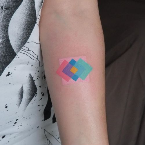 Minimal tattoo by YarPut #YaroslavPutyata #yarput #minimaltattoos #minimal #smalltattoos #small #simpletattoo #simpletattoos #color #handpoke #pattern #shapes #watercolor #arm
