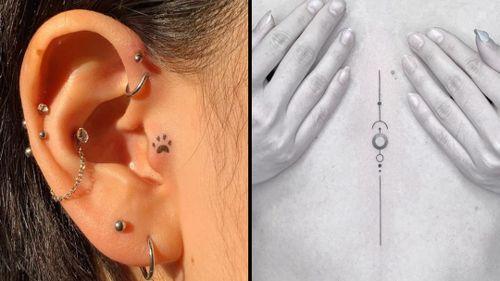 Minimal tattoo by Tan Tattoo and minimal tattoo on the right by Jack Poohvis #JackPoohvis #TanTattoo #minimaltattoos #minimal #smalltattoos #small #simpletattoo #simpletattoos