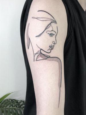 Minimal tattoo by Brian Steffey #BrianSteffey #minimaltattoos #minimal #smalltattoos #small #simpletattoo #simpletattoos #illustrative #linework #dotwork #portrait #arm