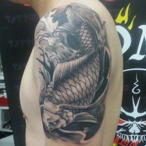 Koi fish black and grey #koifishtattoo #phukettattoo