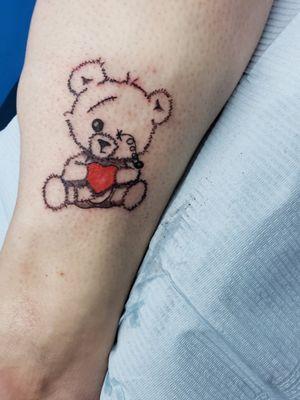 #teddybeartattoo # hearttattoo #starbriteink #rotarymachinetattoo