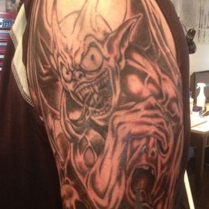 Gargoyle on arm...Thanks for looking. #armtattoos #gargoyles #halfsleevetattoo. #custom #original #byjncustoms
