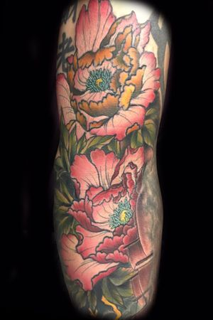 Japanese peonies in color on clients elbow ditcg and inner arm #japanesepeony #japanesetattoo #japanesesleeve #flowertattoo #japaneseflowertattoo #colortattoos #sleeve #irezumi #neotraditional #customtattoos