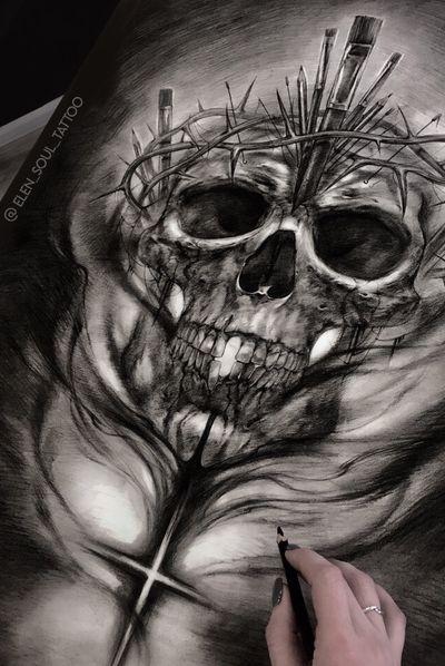 #skull #death #cross #black #horror #darkart #blackandgray #elensoul
