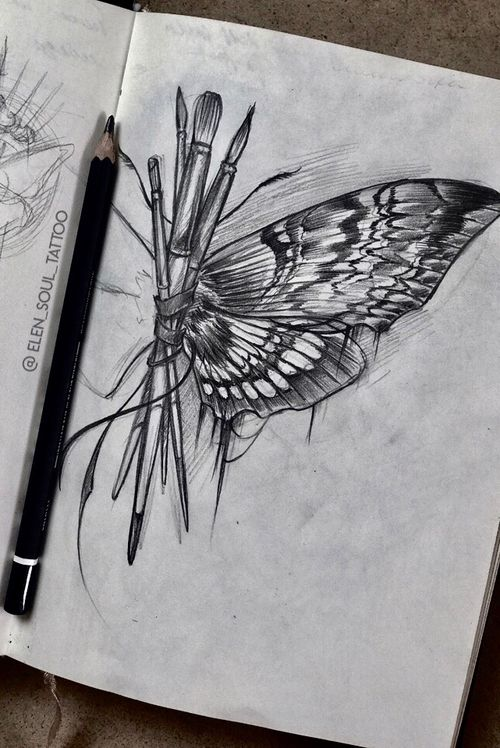 #sketchbook #individualdesign #blackandgray #butterfly #pencil #elensoul