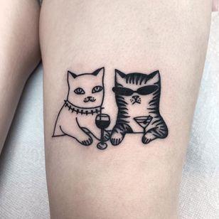Cat tattoo by Katya Krasnova #KatyaKrasnova #cattattoos #cattattoo #cat #kitty #cute #animal #petportrait #pet #blackwork #linework #illustrative #wine #martini #drinks #punk #leg
