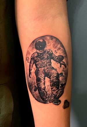 Micro realism space scene with austronaut black and white