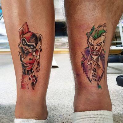 Harley Quinn & Joker matching tattoo #couplestattoo #matchingtattoo #Joker #harleyquinn #psycho #watercolortattoos