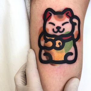 Cat tattoo by Mambo #Mambo #MamboTattooer #cattattoos #cattattoo #cat #kitty #cute #animal #petportrait #pet #luckycat #bold #bell #graphicart #illustrative #watercolor #arm