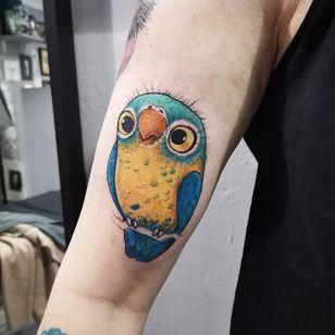 Cute tattoo by Uschi 3000 #Uschi3000 #cutetattoos #cute #sweet #tattoosforgirls #tattoosforwomen #tattooideas #cooltattoos #love #color #bird #parrot #arm