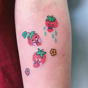 Cute tattoo by Charline Bataille #CharlineBataille #cutetattoos #cute #sweet #tattoosforgirls #tattoosforwomen #tattooideas #cooltattoos #love #arm #strawberry #smileyface #flowers #small #color