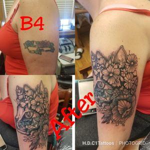First setting on this cover up. #tattoodoer #tattooer #tattooartist #baltimoretattooartist #inkslinger #tattoocoverup #cattattoo #flowertattoo #tattoo
