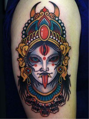 Goddess Kali tattoo by Mick Gore #MIckGore #tattoodo #tattoodoapp #tattoodoappartists #besttattoos #awesometattoos #tattoosforwomen #tattoosformen #cooltattoos #tattooideas #goddesskali #leg