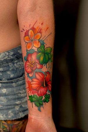 Watercolor flowers bold colors