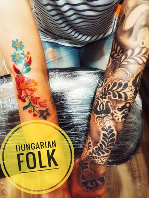 #folktraditional #Folk #hungariantattoo #colortattoo #blackandgreytattoo