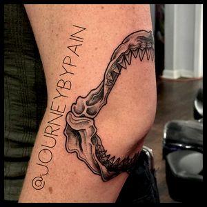 A really fun little shark jaw one i did :) #sharkjaw #sharktattoo #blackandgrey #miami #miamiartist #shark #miamitattooartist #miamitattooparlour