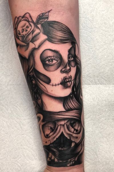 Cover up from the other day. #coverup #dayofthedead #sugarskull #girl #skull #blackandgrey #blackwork #black #detail #ink