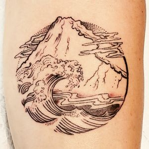 Fine line wave and mountain with stippling