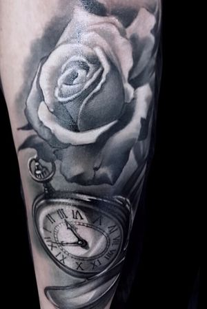 Realistic black and gray rose and clock