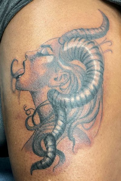 Did this Aries Tattoo recently #aries #zodiac #blackandgrey