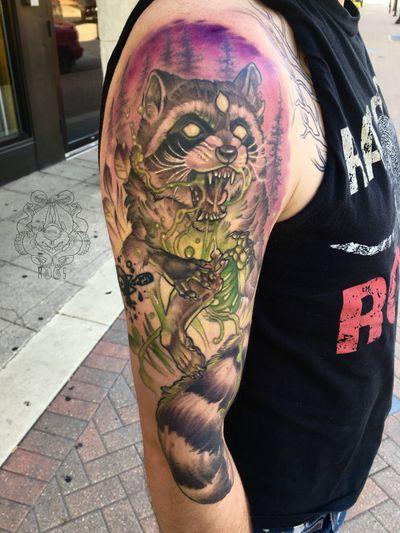 Radioactive Raccoon #mke #milwaukeetattoo #raccoon #radioactive #raccoontattoo #zombie #toxic #neo #neotraditional #zombietattoo #biohazard #animal