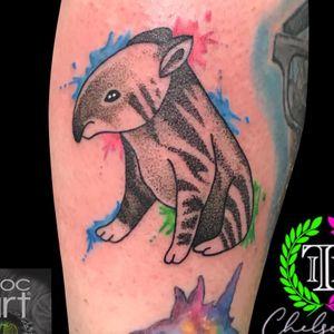 Baby Tapir with watercolour splashes. #tapir #animal #animaltattoo #dotwork #linework #cute #watercolour #colour #coloursplash