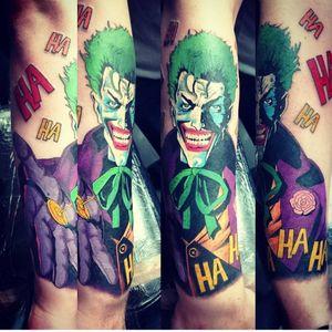 #comic #comictattoo #joker #jokertattoo #colour #colourtattoo #marvel #cartoontattoo #cartoon #point2point #tattoostudio #erith #kent #southlondon #