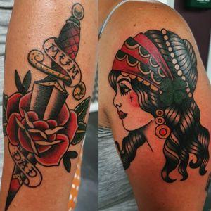 #tattoo #tattoos #tattooist #tattooartist #colour #colourtattoo #traditionaltattoos #traditionaltattoo #oldschool #rose #rosetattoo #dagger #daggertattoo #gypsywoman #gypsygirl #gypsyheadtattoo #gypsygirltattoo #oldschooltattoo #point2point #tattoostudio #erith #kent #southlondon