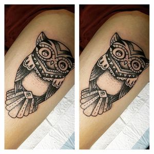 Dotwork owl done by our artist Trudy. Wanna get a piece of tattoo by her? Drop her a message at +65 86878499 for enquiry or appointment. Cheers!🍦 🦖 Email: trudy.artistica@gmail.com FB: www.facebook.com/trudylee023 #tattoo #tattooed #ilovetattoos #tattoolover #bodyart #colortattoo #nopainnogain #smalltattoo #thightattoo #dotworktattoo #owltattoo #femaletattooartist #sgtattoo #singaporetattoo #singaporetattooartist #artisticatattoo #artistica #artisticasingapore #trudyartistica #sparktattoocartridges