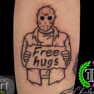 Free hugs! #linework #jasonvorhees #horror #horrortattoo #funnytattoos