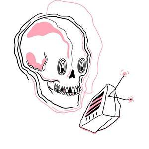 #illustration #pink #Black #television #skull #tattooart