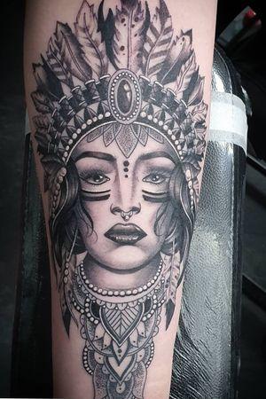#tattoo #tattoos #tattooist #tattooartist #realistictattoo #realismtattoo #blackandgrey #blackandgreytattoo #portrait #nativeamericanwoman #nativeamericantattoos #nativeamericangirl #point2point #tattoostudio #erith #kent #southlondon