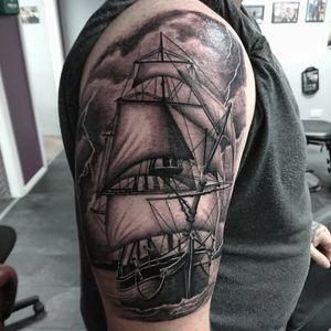 #tattoo #tattoos #tattooist #tattooartist #ship #shiptattoos #shiptattoo #nauticaltattoos #nautical #blackandgrey #blackandgreytattoo #realistictattoo #realismtattoo #point2point #tattoostudio #erith #kent #southlondon