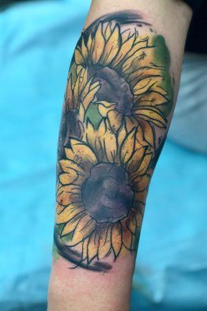 Watercolor Sunflowers 🌻 (Villain Arts Baltimore Tattoo Convention 2019)