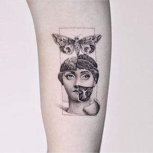 Cool tattoo by Edit Paints #EditPaints #cooltattoos #tattooidea #cooltattoo #cool #favorite #bestoftheday #tattoosforwomen #tattoosformen #blackandgrey #illustrative #butterfly #moth #fornasetti #arm