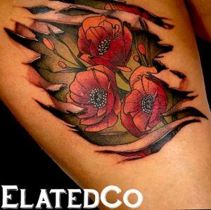 California poppies- poppy tattoo- skin tear- 3d tattoo