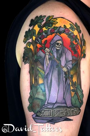 Death card- tarot card- death tattoo- stained glass- stained glass tattoo- tarot tattoo