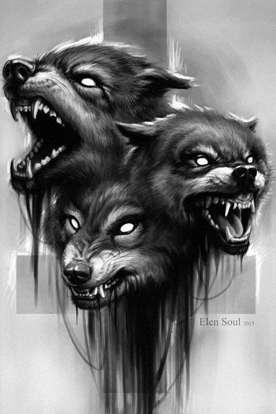 #elensoul #art #evil #wolfs #cross #horror #blackandgray #kunst