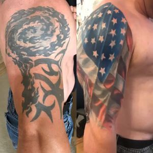 American flag cover up of tribal
