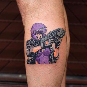 Cool tattoo by Puff Channel #PuffChannel #cooltattoos #tattooidea #cooltattoo #cool #favorite #bestoftheday #tattoosforwomen #tattoosformen #ghostintheshell #gun #anime #manga #color #leg