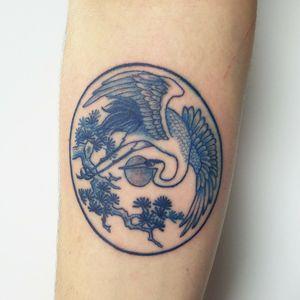 Blue china styled japanese Heron. Please DM me through instagram or facebook for bookings @classylasslilith #blueink #japanesetattoo #Circular #heronbird #BlueWork