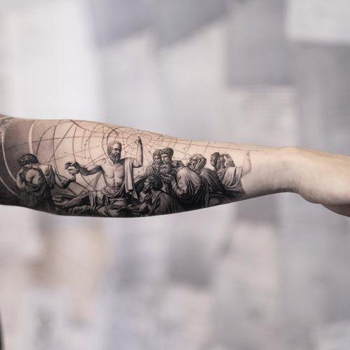 Death of Socrates tattoo by Oscar Akermo #OscarAkermo #realismtattoo #realismtattoos #realism #realistic #hyperrealism #tattooideas #death #socrates #sacredgeometry #blackandgrey #arm