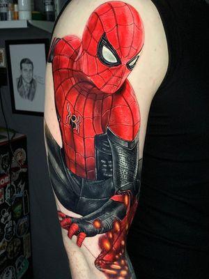Spiderman Tattoo by Alex Rattray #AlexRattray #realismtattoo #realismtattoos #realism #realistic #hyperrealism #tattooideas #spiderman #marvel #stanlee #superhero #color #arm