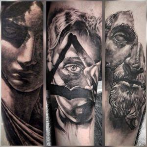 3 realistic tattoos I've done #realism #realistictattoo #art #skinart #bodyart #realistic #uktta #portrait #portraittattoo #statue #statuetattoo #illuminati #classical #allseeingeye