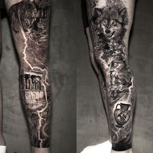 Norse and Greek mythology leg sleeve tattoo by Niki Norberg #NikiNorberg #realismtattoo #realismtattoos #realism #realistic #hyperrealism #tattooideas #greek #norse #wolf #portrait #lightning #blackandgrey #leg