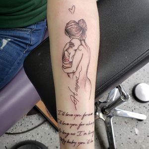 I love forever,  I love you for always, As long as I'm living My baby you'll be That maternal bond is endless... DM me to setup your next tattoo. Please like and follow @TattooedByJesse www.facebook.com/TattooedByJesse, Instagram, Snapchat, Pinterest, Tumblr, twitter, and the tattoodo app. #TattooedByJesse #ComeGetSomeInk #LoyaltyTattooCompany #DynamicBlack  #Tattoo #Tattoos #MichiganTattooArtists #MichiganPiercers #Tattooed #Xion #xiontattoomachine #mother #child #maternal #bond #baby #love #lettering #littlelettering #little #littles #endearing #cuddles #forever #my #baby #you #loveyouforever