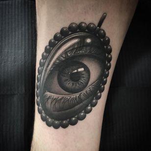 Eye tattoo by Steve H Morante #SteveHMorante #realismtattoo #realismtattoos #realism #realistic #hyperrealism #tattooideas #eye #eyetattoo #pearls #arm #blackandgrey