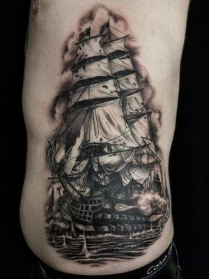 #blacandgrey  #pirate #ship #battle #cannons #sails #ribs