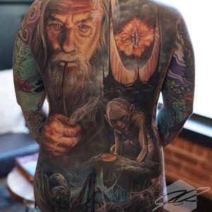 Lord of the Rings tattoo by Jesse Rix #JesseRix #realismtattoo #realismtattoos #realism #realistic #hyperrealism #tattooideas #backpiece #backtattoo #lordoftherings #gollum #gandalf #color #portrait